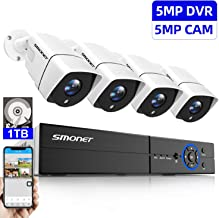 [Upgrade] SMONET Security Camera System,8Channel 5MP Security Camera System,5-in-1 5MP DVR with 5MP(2.5X1080P) Outdoor Security Cameras(4),Super Night Vision,Motion Alert,Quick Remote Access,1TB HDD