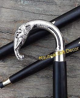 Nautical.Gift.Decor Houten Wandelen Stick Riet Gesneden Olifant Messing Handvat
