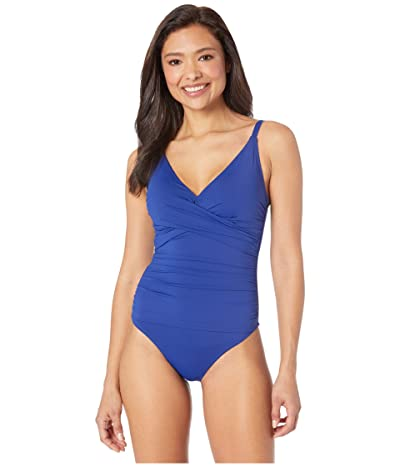 Tommy Bahama Pearl Over the Shoulder Cross Front One-Piece (Blue Sapphire) Women