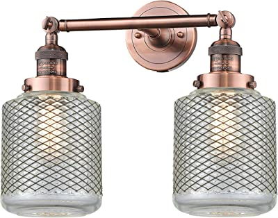 Innovations 208-AC-G262-LED 2 Light Vintage Dimmable LED Bathroom Fixture, Antique Copper