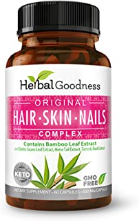 Original Bamboo Leaf Extract - Hair Skin Nails Complex - 60/600mg Capsule - Vegan Collagen with Biotin & Horsetail Extract...