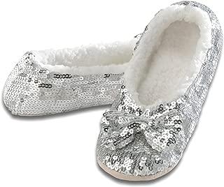 Ballerina Bling Metallic Shine Women Slippers | Sequin House Slippers for Women | Slipper Socks with Grippers for Women | Cute Slippers for Women | Multiple Colors and Sizes