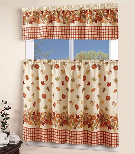 Amazon Com 3 Piece Kitchen Curtain Linen Set With 2 Tiers 27 W Total Width 54 X 36 L And 1 Tailored Valance 54 W X 15 L Orange Yellow Green Pumpkin Autumn