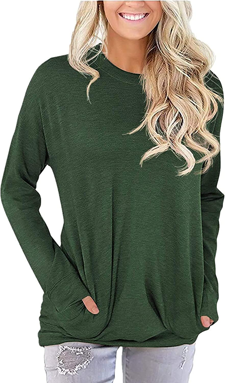 LaLaLa Women's Casual Loose Fit Tunic Tops Long Sleeve Comfy Sweatshirts Pullover T-Shirts Blouses