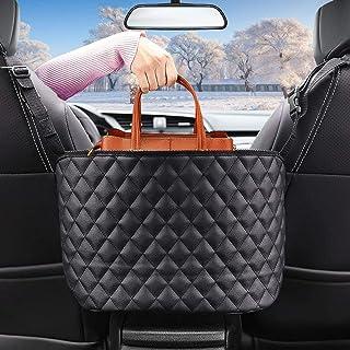 Car Net Pocket Handbag Holder, PU Leather Purse Holder for Car Storage Organizer Between Front Seats, Driving Safely Barri...