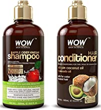 WOW شربت سیب سرکه سرم شامپو و کرم تقویت کننده مو - کاهش شوره سر، فریزس، کلسیم کمتر - پاک کننده مو و سرم سالم برای افزایش براق، نرم و لطیف - مناسب برای موهای خشک و روغنی - 500 میلی لیتر