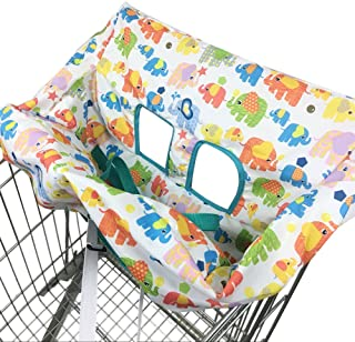 Pueri Shopping Cart Cover 2-in-1 Baby Shopping Cart Cover & High Chair Covers with Safety Harness Universal Fit for Baby Toddler Boy or Girl (B)