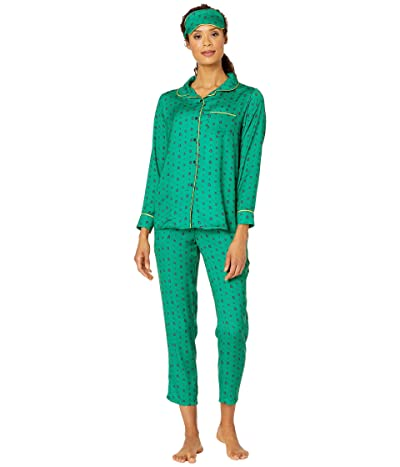 Plush Boho printed Pajama + Eyemask Set (Green Multi) Women