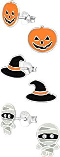 ICYROSE 925 Sterling Silver Set of 3 Pairs Halloween Set Witch Hat , Orange Pumpkin Jack-O-Lantern , Mummy Stud Earrings for Girls (Nickel Free)