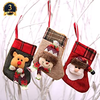 Ginfonr Christmas Stocking 3 Pack Santa Claus Snowman Reindeer, Xmas Eve Home Decorations Mini 3D Plush Faux Fur Cuff Gift Holding Festival Decors Tree Fireplace Ornament Party Accessory