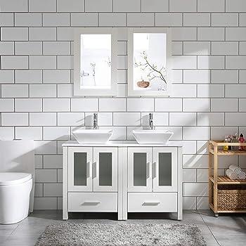 "48"" Double Sink Bathroom Vanity Cabinet White Marble Pattern Top w/Mirror Faucet & Drain (Ceramic Sink)"