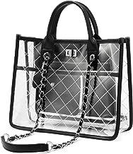 LOVEVOOK Clear Tote Bag With Turn Lock Closure Girly PVC Shoulder Bag