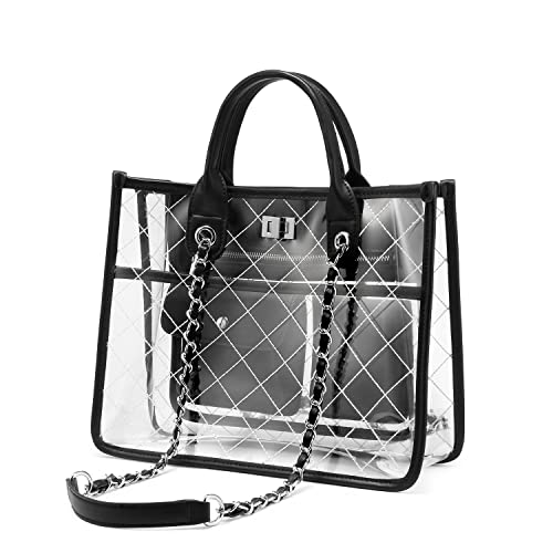 bdd1d11fc145 LOVEVOOK Clear Tote Bag With Turn Lock Closure Girly PVC Shoulder Bag
