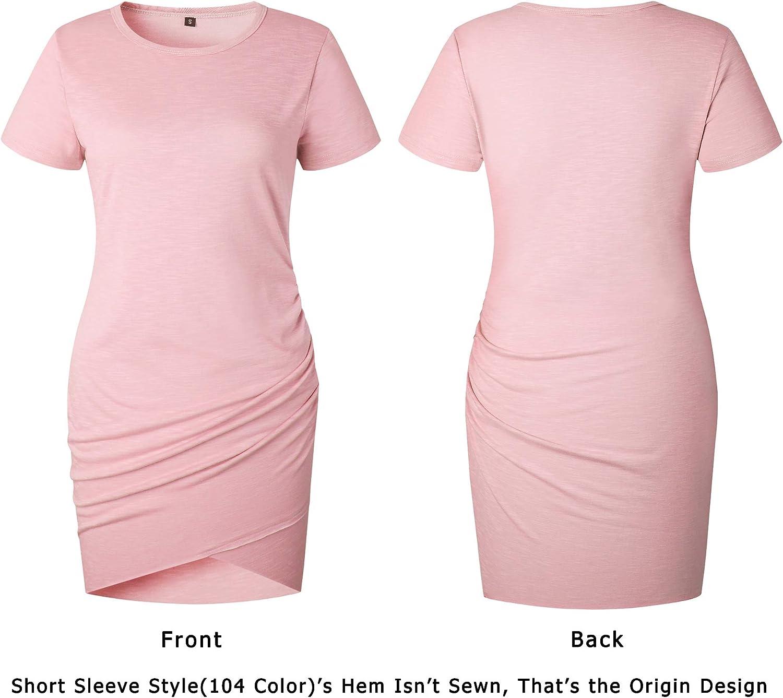 BTFBM Womens 2021 Casual Crew Neck Short Sleeve Ruched Stretchy Bodycon T Shirt Short Mini Dress