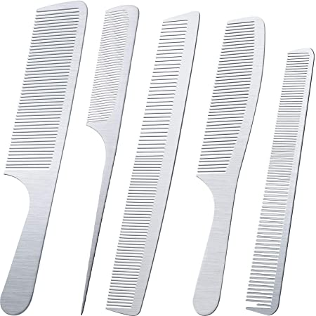 5 Pieces Stainless Steel Hair Comb Set Metal Tail Combs Silver Fine Cutting Comb Hairdressing Steel Comb Rat Tail Comb Teasing Pintail Barber Comb Stainless Steel Hair Styling Grooming Detangler Comb