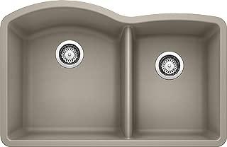 "BLANCO 441284 DIAMOND SILGRANIT 32"" Double Bowl Undermount, Truffle Kitchen Sink,.."