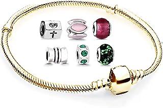 Bracelet pour femme avec breloques - Kit de démarrage - Perles en acier inoxydable - Bracelet compatible avec les breloque...