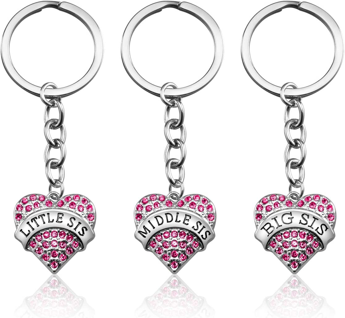 3PCS Big Sis Middle Little Heart Si Special Campaign Pendant Pink Crystal 5 ☆ popular