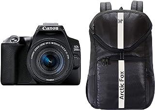"""Canon EOS 200D II 24.1MP Digital SLR Camera + EF-S 18-55mm is STM Lens + EF-S 55-250mm is STM Lens (Black) + Arctic Fox Jet Black 15.5"""" Laptop - Camera Backpack"""