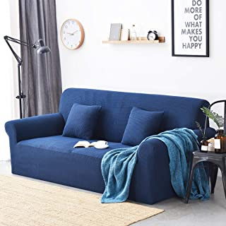 BIT.FLY High Stretch Sofa Cover 2 Seater Loveseat Slipcovers for Armchair Armless Sofa Covers Leather Couch Cover for Dogs Pets Furniture Protector - 1 Piece, Prussian Blue