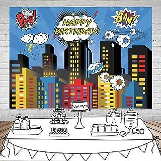 SJOLOON 11475 Superhelden Foto Hintergrund, Superhelden Stadtbild, für Männer, Kinder, Geburtstag, Party, Dekoration, Vinyl, Studio Requisiten