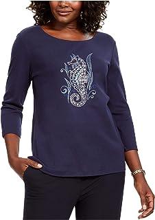KAREN SCOTT Womens Navy Embellished 3/4 Sleeve Jewel Neck Top US Size: PP