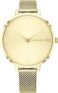ساعة من تومي هيلفجر للنساء بمينا بلون ذهبي فاتح وسوار فولاذي رفيع مطلي ايونيا بلون ذهبي - 2 طراز - 1782164