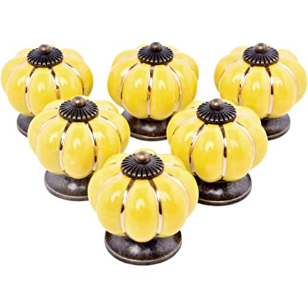 Large Decorative Modern Furniture Handle Pretty Door Knob for a Dresser Draw or Chest of Drawers Sunshine Yellow Ceramic Jacky Flower Knob