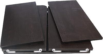 Ebee Wooden 3 Shelves Foldable Shoe Rack-Wenge