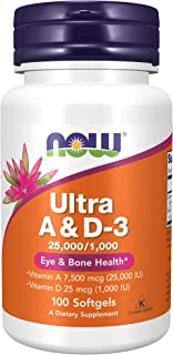 NOW Supplements, Vitamin A & D3 25,000/1,000 IU, Eye Health*, Essential Nutrition, 100 Softgels