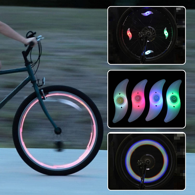 2 PC Bike Spoke Light, Flashing LED Bike Wheel Light,Tyre Wire Right LED Flash Model Neon Lamps,Bike Safety Alarm Light