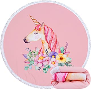 Feelingjoy Thick Round Beach Towel Blanket Flower Unicorn Flamingo Feather Large Microfiber Terry Beach Roundie Circle