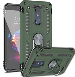 AYMECL LG K30/LG K10 2018/Harmony 2/Phoenix Plus/Premier Pro LTE Case with HD Screen Protector,[Military Grade] 360 Degree Magnetic Support Metal Ring Armor Shockproof Cover for LG K10 2018-ST Green