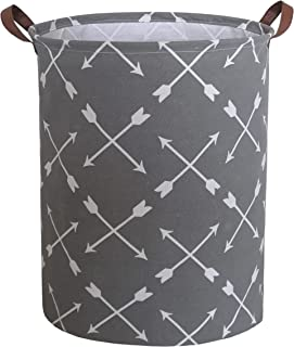 CLOCOR Collapsible Round Storage Bin/Large Storage Basket/Clothes Laundry Hamper/Toy Storage Bin (Intersecting Arrow)
