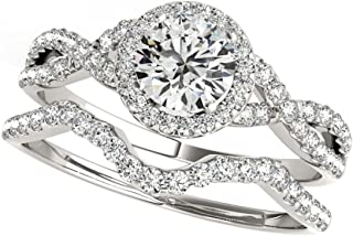 0.50 Carat Halo Round Cut Antique Diamond Bridal Ring And Band Set For Women | 14K Solid White Rose Yellow Gold | 1/2 ct Genuine Diamond Wedding/Engagement Jewelry Collection