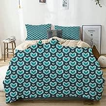 MANISENG Bedding Juego de Funda de Edredón,Beige,Teal Abstract Waterfall Design Shades of Blue Geometric Art Modern Pattern Decorative,Microfibra NO LLENAR,(Cama 240x260 + Almohada)