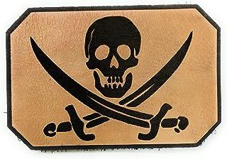 Parche de cuero bandera pirata tactico militar con velcro macho y hembra incluido