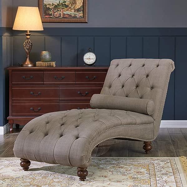 Belleze Teofila 簇绒贵妃躺椅休闲沙发沙发长枕钉头修剪和转身腿棕色