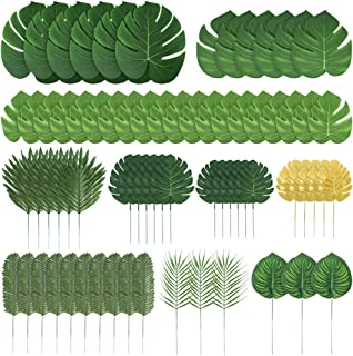 Auihiay 70 Pieces 10 Kinds Artificial Palm Leaves