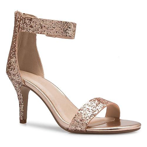 830972694 OLIVIA K Women s Open Toe High Heel Ankle Strap Sandal