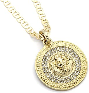 Mens Medallion Pattern Lion Gold Tone 4mm 24