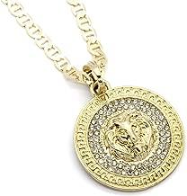 Mens Medallion Pattern Lion Gold Tone 4mm 24