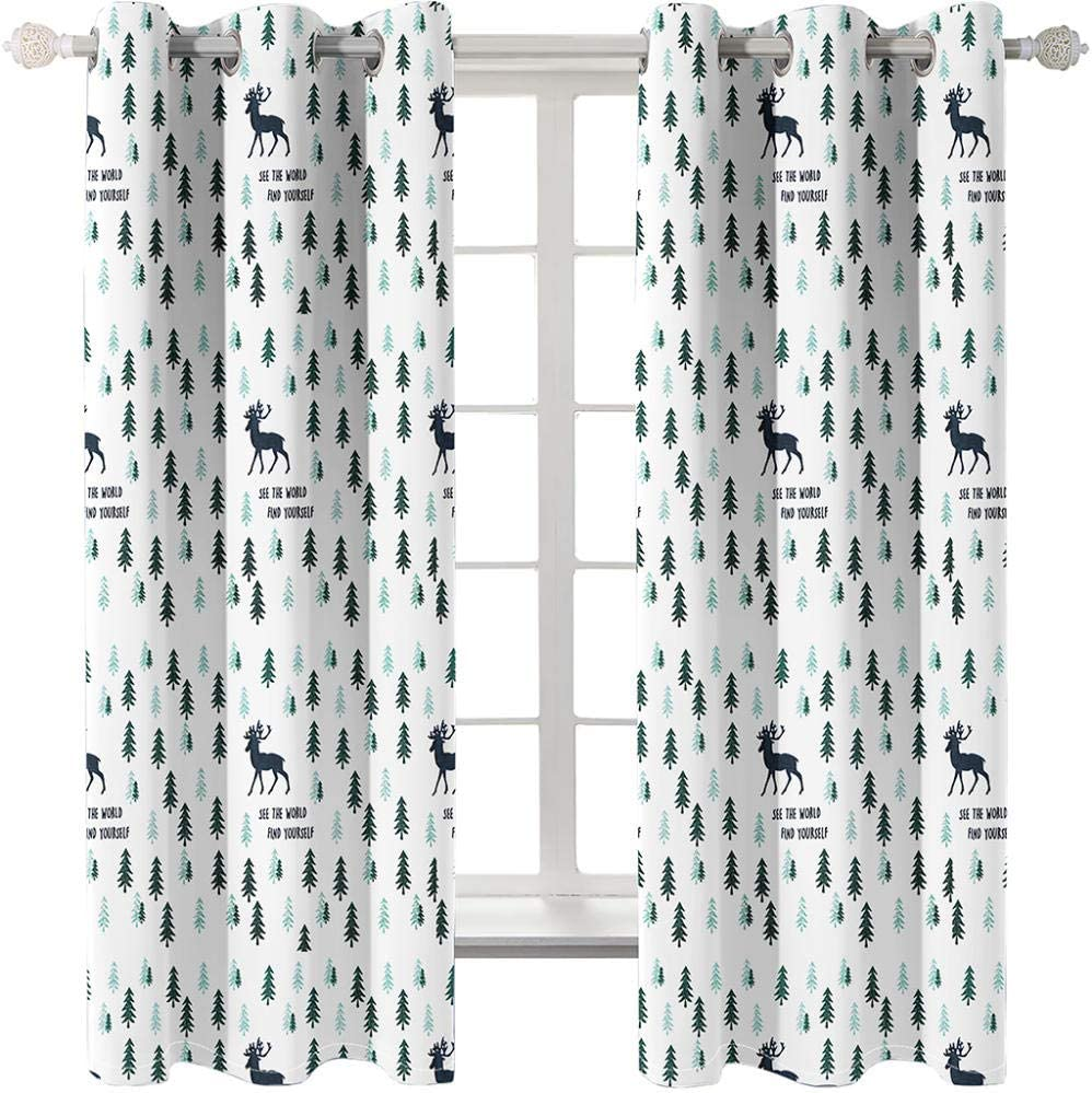 3D Printed Fees free 5 ☆ very popular Blackout Curtains Deer in for 280Wx245H The Woods cm