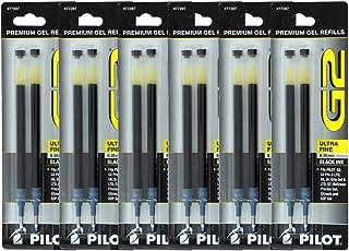 Pilot G2, Dr. Grip Gel/Ltd, ExecuGel G6, Q7 Rollerball Gel Ink Pen Refills, 0.38mm, Ultra Fine Point, Black Ink, Pack of 12
