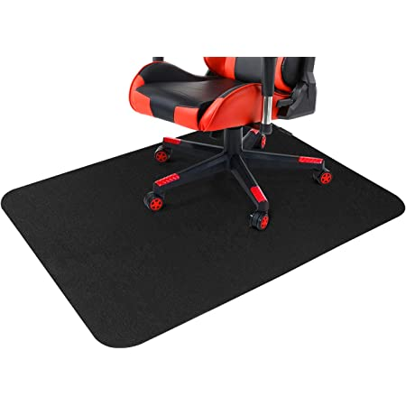 GTRACING Office Chair Mat for Hardwood 47 x 35 inch, Under The Desk Mat for Rolling Chair and Computer Desk, Anti Slip, Non Curve, Black