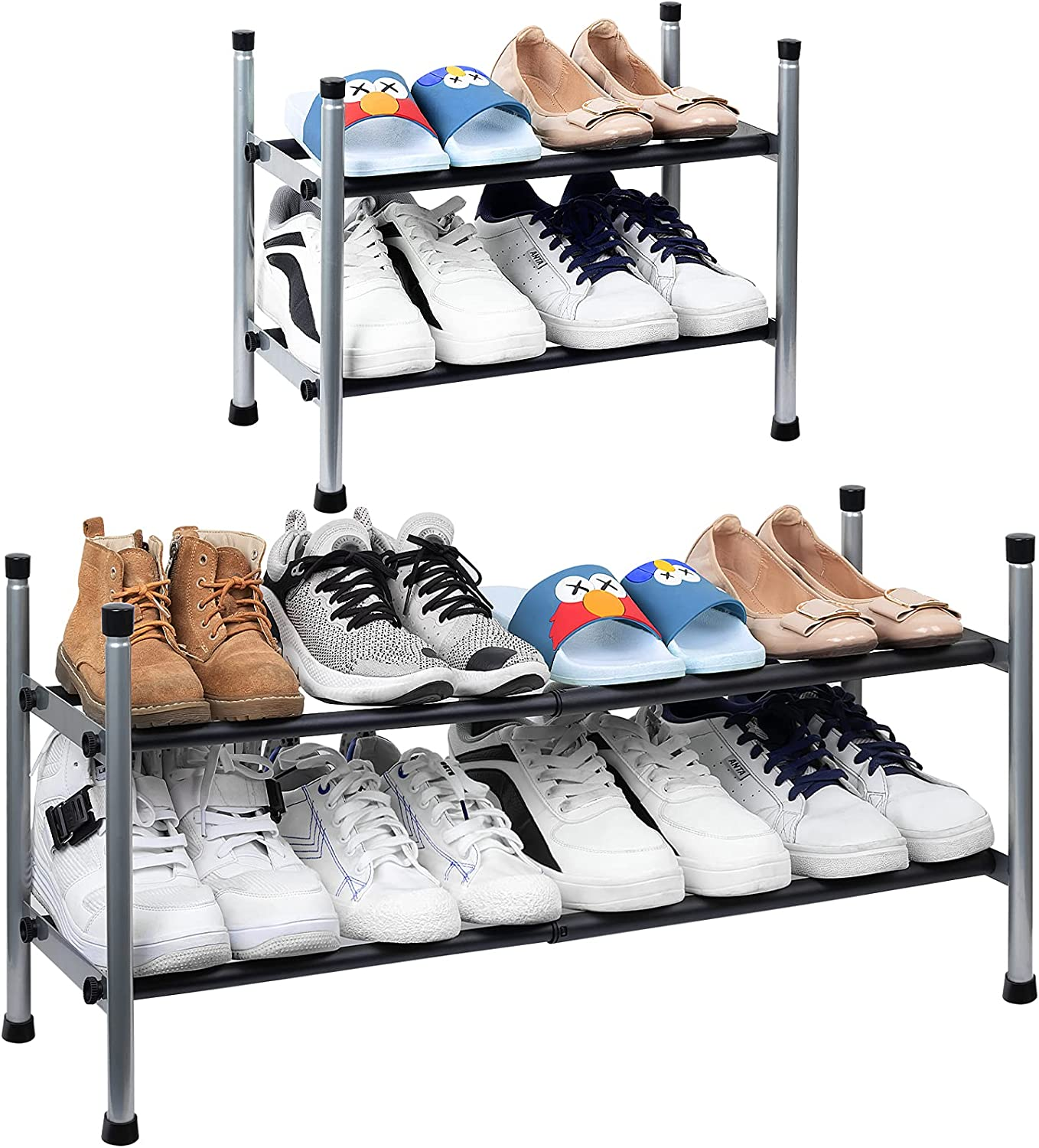 2-Tier Expandable Shoe Rack, Stackable and Adjustable Shoes Organizer Storage Shelf, Sturdy and Durable Metal Structure Free Standing Shoe Rack for Closet Entryway Doorway