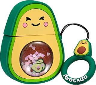 Joyleop Quicksand Avocado Case Compatible with Airpods 1/2,Cute 3D Cartoon Fun Funny Kids Girls Teens Cover,Kawaii Fruit Cool Bling Glitter Fashion Silicone Character Airpod Skin Cases for Air pods