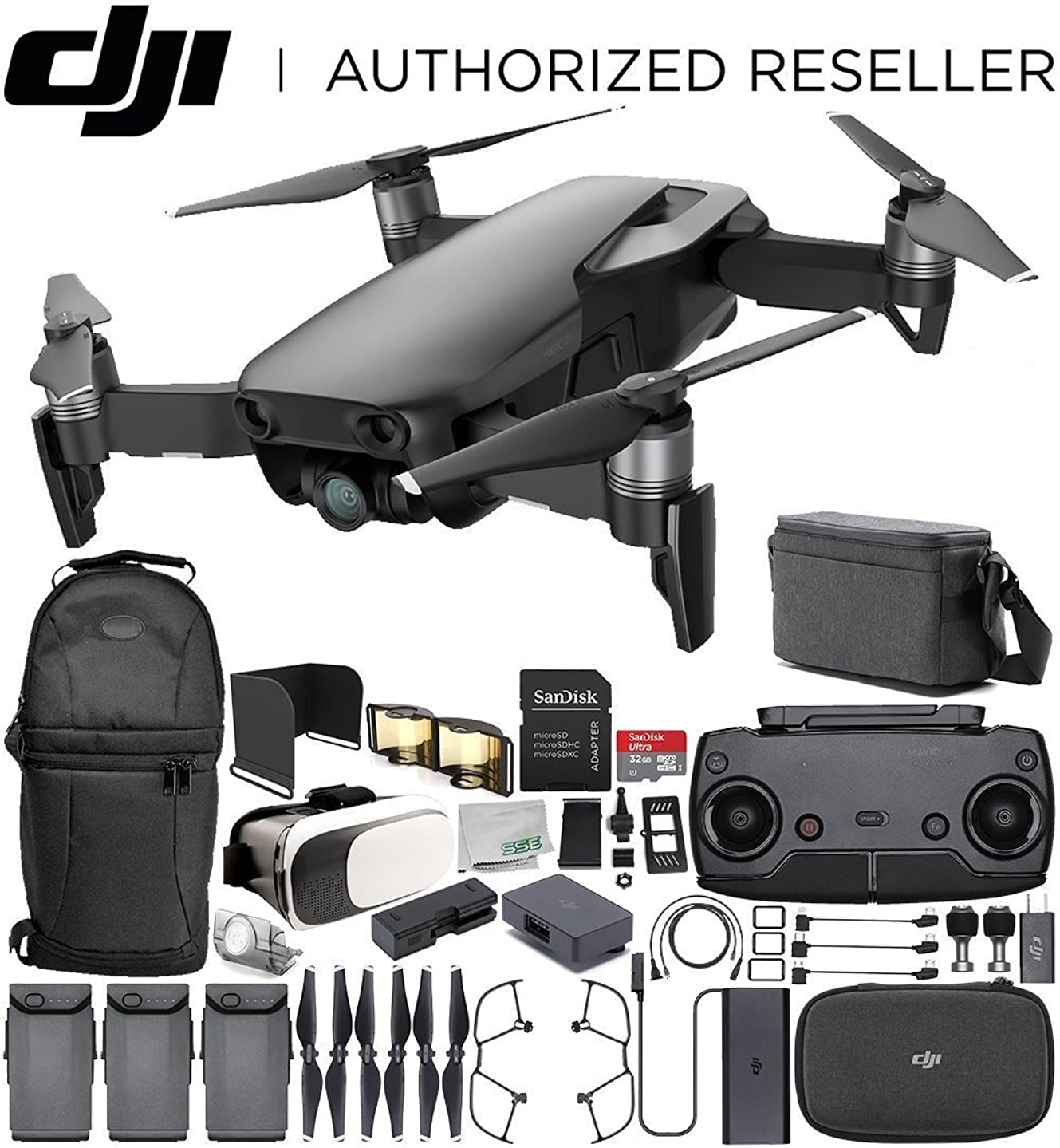 DJI Mavic Air Drone Quadcopter Fly More Combo (Onyx Black) Starters Bundle