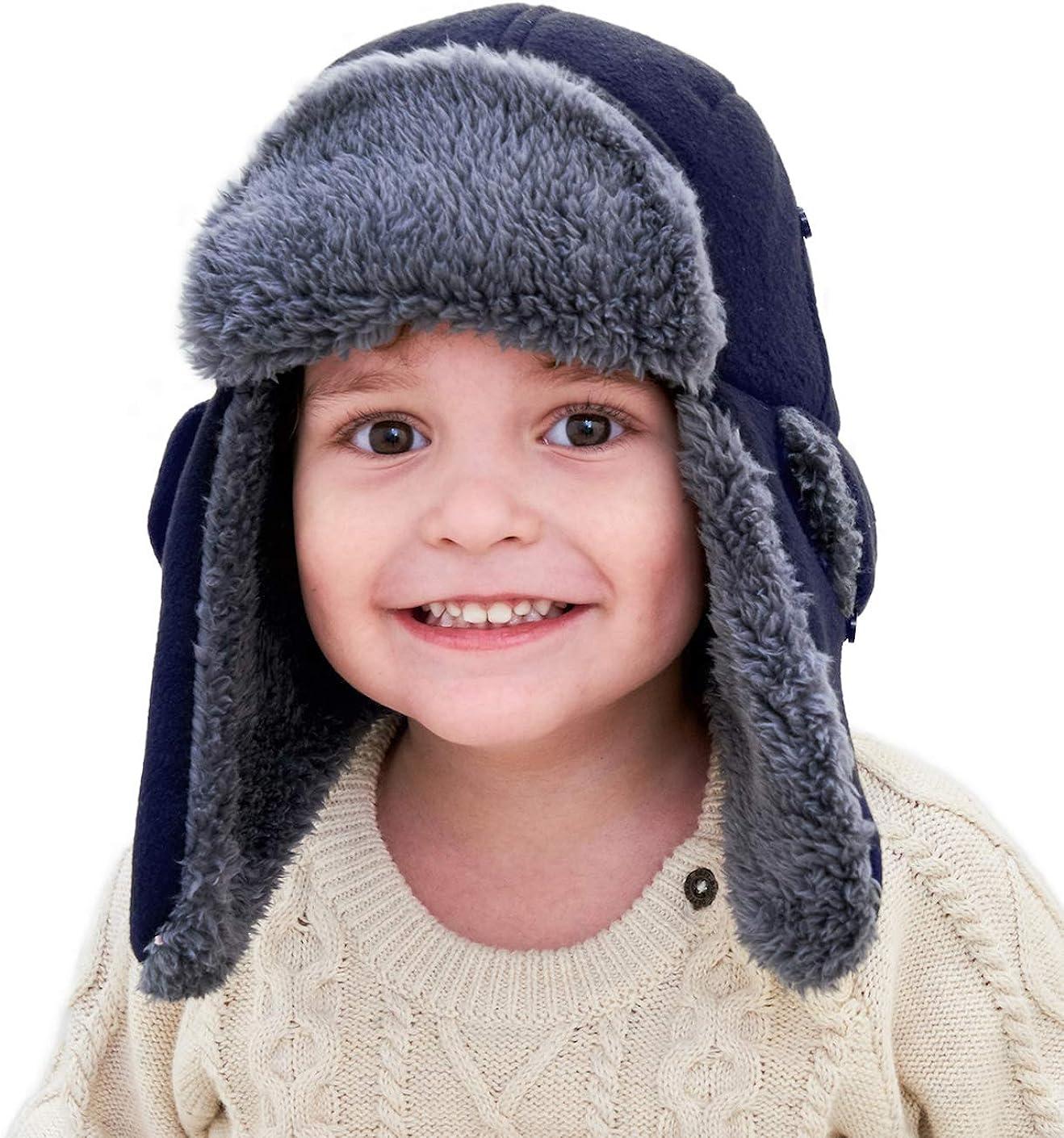 Home Prefer Toddler Boys Winter Hat Long Earflaps Warm Fleece Trapper Hat