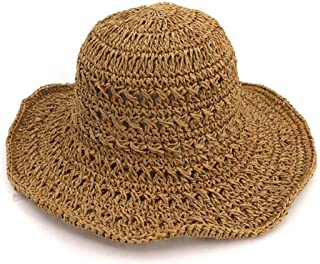 Summer hat Summer Handmade Women Stalk Bucket Hat Lady Outside Beach Sun Hat hat (Color : Coffee, Size : 56-58CM)